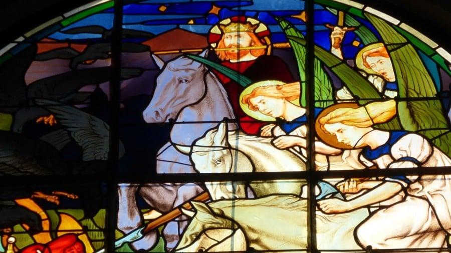 pour le bandeau de l'ari, vitrail Bougival, détail Christ épée