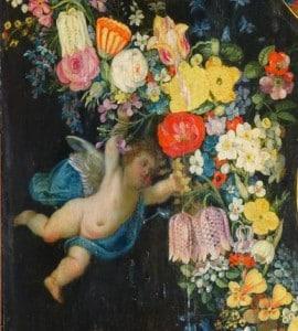 retable détail ange fleurs, recadrage, photo N