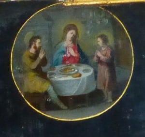 retable, la sainte famille à table, N.lockhart