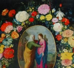 retable, la visitation avec fleurs autour, N.lockhart