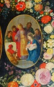retable , présentation Jésus au temple, avec fleurs, N.lockhart
